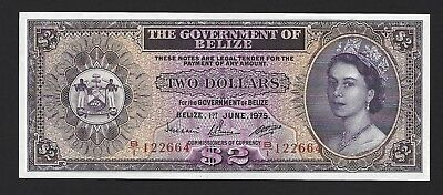 1975 Belize $2 Dollars, UNC Uncirculated P-34b, B/1 Prefix Actually Rare Date