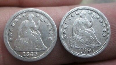 1843 & 1847 Liberty Seated Silver Half Dimes in Cleaned Condition No Reserve