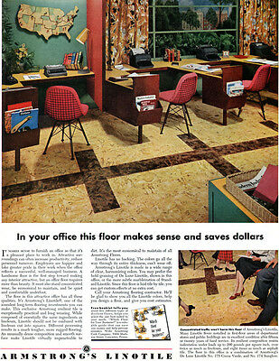 Charles Eames Wire Chairs ARMSTRONG LINOTILE Mid Century Modern 1953 Print Ad