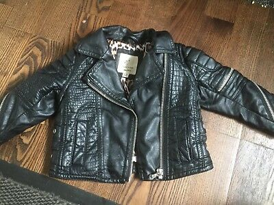 6c8b00d16 BABY GIRLS RIVER Island Black Faux Leather Biker Jacket 9-12 Months ...