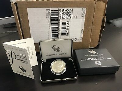 2018 W Palladium American Eagle 1 oz Proof $25 Coin Seal in US Mint Shipping Box