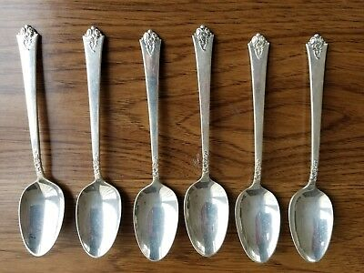 Set of 6 Royal Crest Sterling Silver Tea Spoons--Castle Rose pattern--Ca. 1951