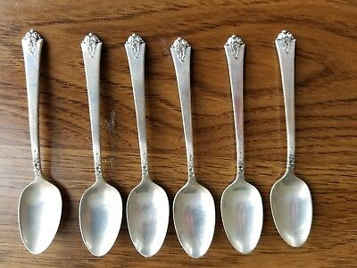 Set of 6 Royal Crest Sterling Silver Demitasse Spoons--Castle Rose pattern--1951