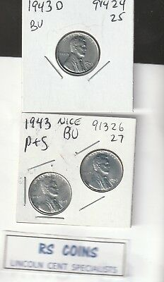 1943  1943D  1943S    Brilliant Uncirculated  Lincoln  Cents  #91713 Rs Coins