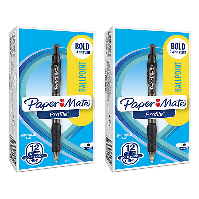 Paper Mate Profile Retractable Ball Point Pen, 1.4mm, Bold Point, Black Ink, 24-