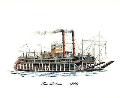 A Set of Three Cities Service Steam Powered Paddle Boat Prints set one