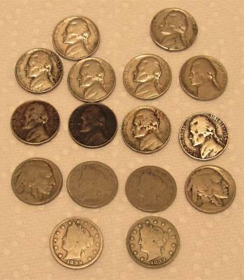 16 pc. Nickel Lot Liberty Buffalo Jefferson Mixed Nickels Collection no reserve!