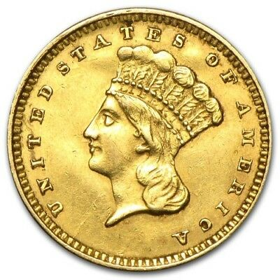 1857 $1 Indian Head Gold Type 3 (Cleaned)