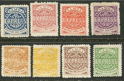 SAMOA Sc#1-8 Reprints (Type IV) of 1877 EXPRESS Stamps Complete Mint Hinged