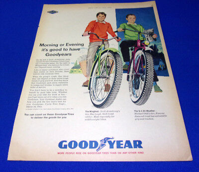 Vitntage Print Sales AD lot of 3 Goodyear Bike Bicycle Tires for 1962