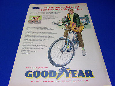 Vitntage Print Sales AD lot of 3 Goodyear Bike Bicycle Tires for 1961