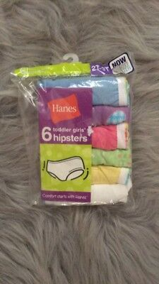 Hanes Toddler Girls'  Cotton Hipsters 6-Pack 2T-3T New