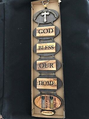 """""""God Bless Our Home"""" Olive Wood 14"""" Wall Hanging with Holy Water and Oil"""