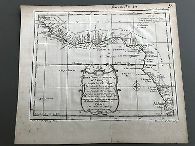 1739 Bellin Map Antique Gulf of Guinea & Benin original 25.5 x 20.5cm embossed