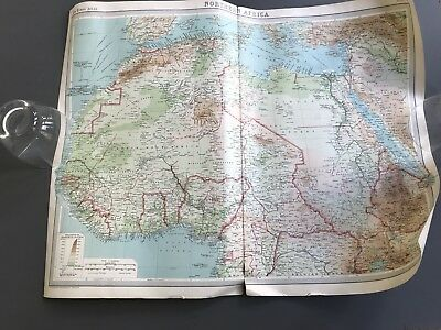 Map 1920 The Times Atlas Northen Africa coloured large 58 x 44.5