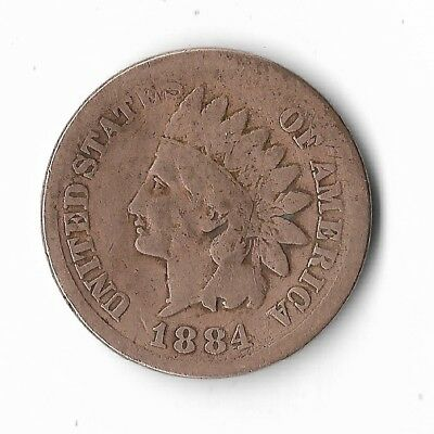 Rare Very Old Antique US 1884 Indian Head Penny 1880s Collection Nice Coin Cent