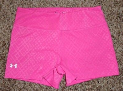 UNDER ARMOUR Womens FITTED Volleyball Fitness Running Yoga Shorts Pink Small S