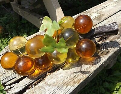 VINTAGE Mid Century Retro AMBER GOLD Lucite Acrylic Grapes Centerpiece Bunch