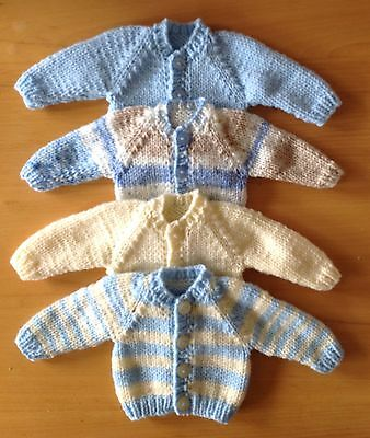 """Dolls Clothes Hand Knitted cardigan 12-14"""" 30-36 cm Boy Doll.  Choice Of Colour."""