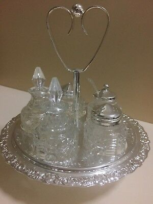 Vintage England Silver  Plated Glass Cruet Set  on Chrome Turntable