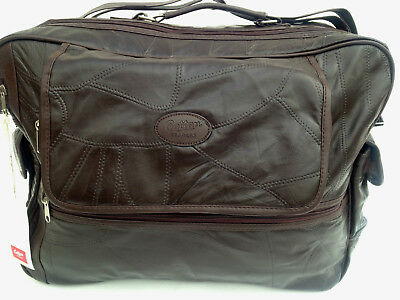 Cotton Traders Leather Patchwork Travel Bag Large Brown AM10138 Holdall Unisex