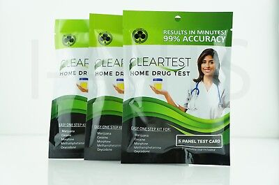 3x Pack Easy One Step Kit For Home Drug Test 5x Panel Test Card Disposable Cup