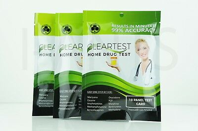 3x Pack Easy One Step Kit For Home Drug Test 10x Panel Test Card Disposable Cup