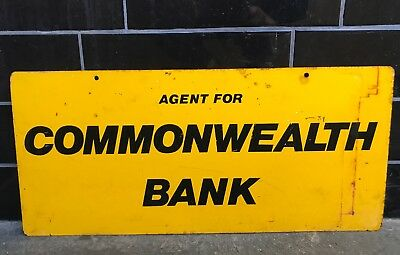 COMMONWEALTH BANK Australian Vintage Double Sided Tin Sign