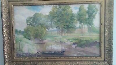 Ethel Evans Oil On Canvas 19th century w/ Frame- American Landscape