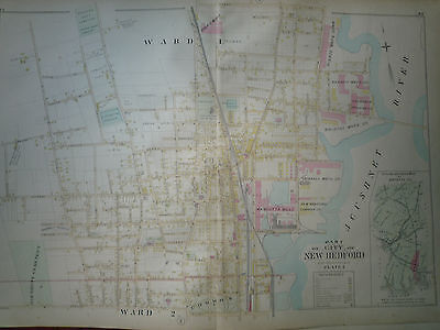 19thC Bristol Co 1895 Atlas Map New Bedford Pl1 Hand Colored Excell Cond Mass Ma