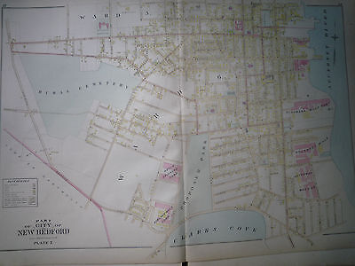 19thC Bristol Co 1895 Atlas Map New Bedford Pl3 Hand Colored Excell Cond Ma Mass