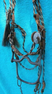 Native American Twisted Hair 100 yr. Old Horse Bridle and old Iron Bit w/concho