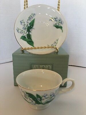 Avon Blossoms of the Month Cup & Saucer 1991 May Lily of the Valley Set NEW