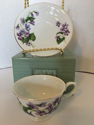 Avon Blossoms of the Month Cup & Saucer 1991 February Violet Collections NEW