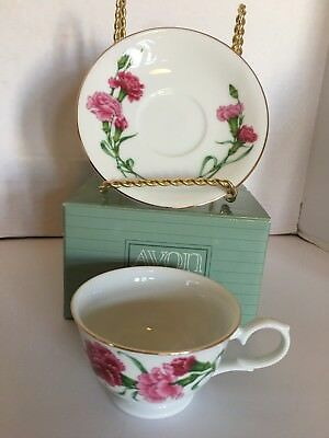 Avon Blossoms of the Month Cup & Saucer 1991 January Carnation Collections NEW