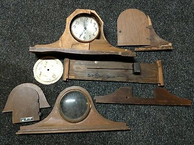 Lot Of Antique Clock Parts, Brass Hardwares, Glass, Chime, Housings, Faces