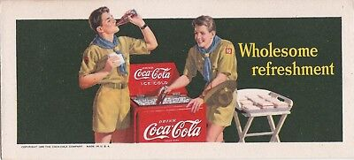 """BOY SCOUT """"wholesome refreshment 1942  COCA-COLA art  illustrated  INK  blotter"""