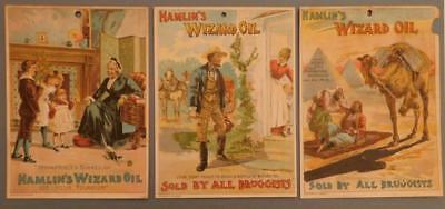 "3 Large 4 7/8 x 6 1/2"" Hamlin's Wizard Oil Victorian Trade Cards"