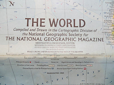 "Vintage 1965 National Geographic Map - The World - 29"" x 42"""