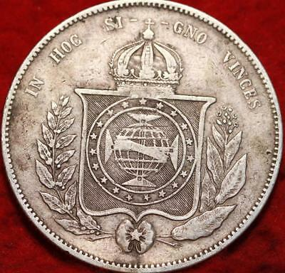 1855 Brazil 2000 Reis Silver Foreign Coin