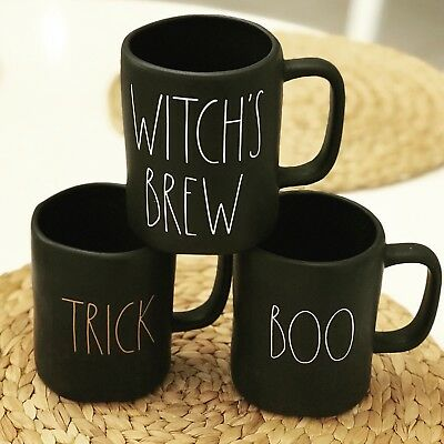 3 Rae Dunn Witch's Brew, Boo and Trick Treat Black Matte Halloween Mugs - New!