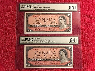 Bank of Canada  BC-38bT 1954 2 Dollar S/R Test Notes 2 Consecutive PMG 64EPQ