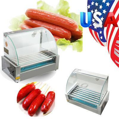 US Roller Commercial 18 Hotdog Hot Dog 7 Roller Grill Cooker Machine W/Cover New