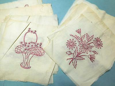 30 Vtg Antique Hand Embroidered Flowers and Baskets Quilt Blocks