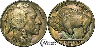 1937-D 5c Bufflao Nickel IRIDESCENT RAINBOW TONING MS BU UNC rare type coin #yb