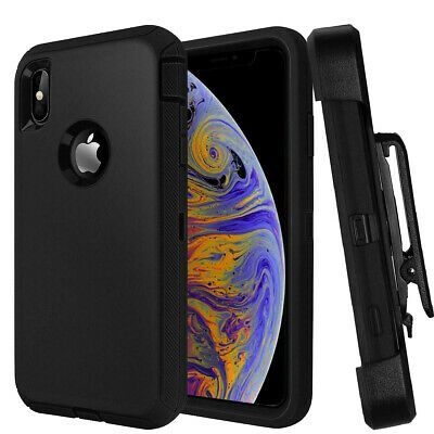 For Apple iPhone XS Max Defender Case W/Tempered Screen Unvrsl Clip Fit Otterbox