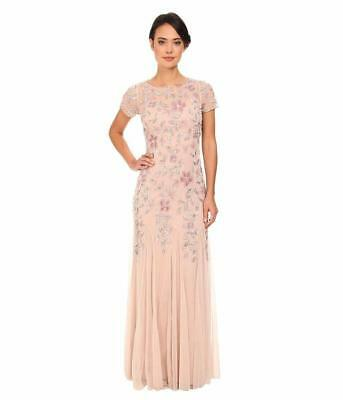 a4e932dfe0 Adrianna Papell Blush Pink floral beaded godet gown short sleeves NWT Size  0-12