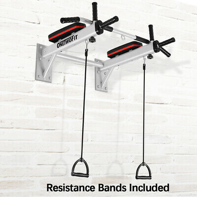OneTwoFit Wall Mounted Pull Up Chin Up Bar Heavy Duty Padding Protection OT066