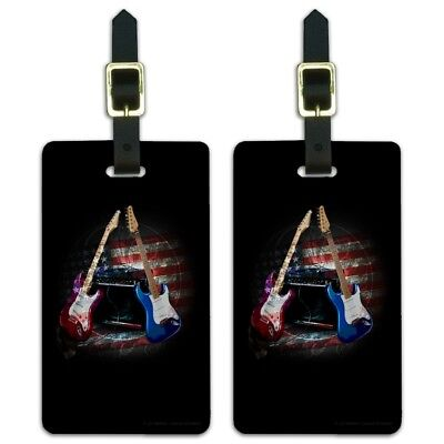 Electric Guitars American USA Flag Rock Luggage ID Tags Cards Set of 2