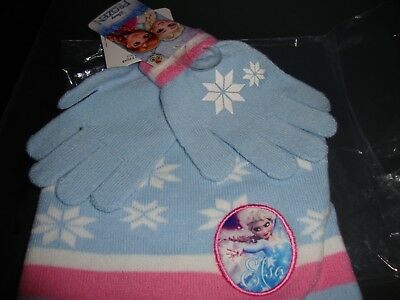 Girl Kids Frozen Beanie Hat And Gloves Winter Official Disney Set New Age 3-8